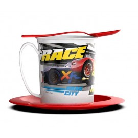 SET TAZA PLATO Y CUCHARA CARS