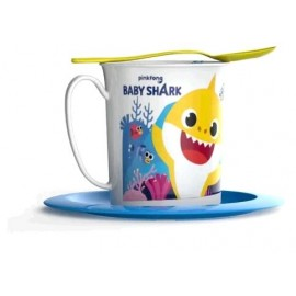 SET TAZA PLATO Y CUCHARA BABY SHARK
